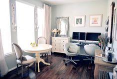 Love the feel of this. dark hardwood floors : check, vintage white dresser : check
