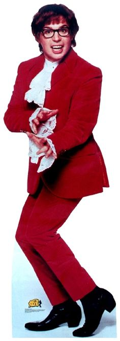 Austin Powers (played by Mike Meyers) Red Tuxedo, Austin Powers, Cultural Identity, Theatre Costumes, Vintage Wardrobe, Film Books, Good Movies, Awesome Movies, Famous Faces