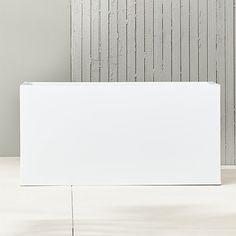 "blox 32"" low galvanized hi-gloss white planter | CB2"