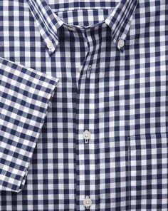 Classic fit non-iron short sleeve poplin check navy shirt