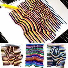op art for kids: looking hand tracing! Op Art, Fun Crafts, Crafts For Kids, Arts And Crafts, Paper Crafts, Craft Kids, 3d Hand Drawings, Projects For Kids, Art Projects