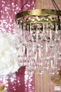 rustic-glam-gold-chandelier featured in Rustic Glam sweets table designed by Soiree-EventDesign.com for Koyal Wholesale