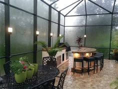 Deck Lighting, Pool Enclosure & Cage Lighting by Lanai Lights - Modern Design Pool Screen Enclosure, Screen Enclosures, Pool Enclosures, Lanai Patio, Screened In Patio, Backyard Patio, Modern Backyard, Backyard Ideas, Lanai Decorating