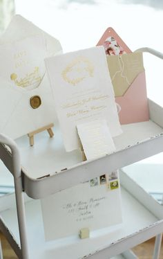 One of my lovely brides had her bridal shower and displayed her beautiful wedding stationery - handmade paper with gold foil print! Isn't this lovely?! Calligraphy Wedding Place Cards, Calligraphy Envelope, Wedding Stationery, Wedding Cards, Wedding Invitations, Gold Foil Print, Brides, Bridal Shower, Place Card Holders