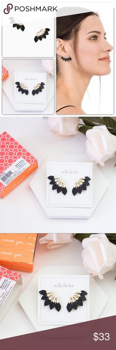 """Stella & Dot Feather Studs Black Gold Brand new 2018 new collection  Retail: $39  Genuine leather feathers fan out from under a white enamel geometric setting. A must-have neutral statement stud for your wardrobe.  Shiny Gold Finish 1 1/4"""" Feather Weight Titanium Ear Posts Stella & Dot Jewelry Earrings"""