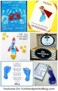 Collection of adorable Father's Day handprint and footprint crafts made by kids using sweet poems and cute sayings about dads.#funhandprintartblog #handprintholidays #fathersday #makefordads #craftsforkids #crafty #footprint #handprintart #printablesforkids
