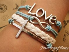 love,infinity bracelet-love bracelet-infinity bracelet-cross bracelet-wax cords and imitation leather bracelet-gift bracelet(CH-013). $5.59, via Etsy.