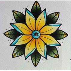 Resultado de imagem para flash flower tattoo old school