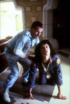 Sigourney Weaver and Ian Holm in Alien (1979)