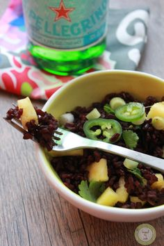 Black Rice Salad with Pineapple and Cilantro. - Knead to Cook