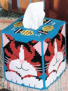 Plastic Canvas - Tissue Topper Patterns - Boutique-Style Patterns - Dreaming Cat Tissue Box Cover