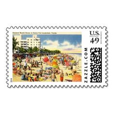 Beach Scene, Fort Lauderdale, Florida Vintage Postage Stamps, available in postcard denomination in my Zazzle store!