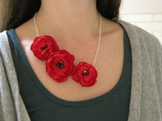 fabric flower necklace -