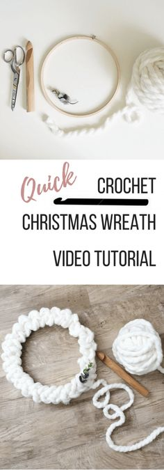 A modern crochet Christmas wreath that will wow your guests. A quick and easy video tutorial shows you the simple steps to DIY your own wreath.