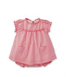 Ensemble robe et bloomer bébé fille en vichy rose Doll / blanc Ecume - Petit Bateau