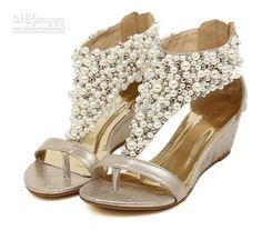 2014 handmade pearl wedding shoes,pearl rhinestone sandals, flat shoes,bridal shoes,wedges shoes from steeringwheelcoveroh on Etsy. Rhinestone Sandals Flats, Bridal Shoes Wedges, Wedding Wedges, Wedge Wedding Shoes, Pearl Sandals, Beaded Sandals, Womens Shoes Wedges, Wedge Sandals, Wedge Shoes