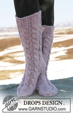 "Ravelry: 116-28 Socks with cables in ""Eskimo"" pattern by DROPS design"