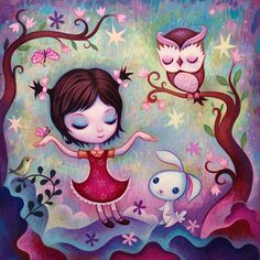 """New painting by Jeremiah Ketner for the Little Golden Tales show @ Gallery Nucleus, as inspired by the book """"I Can Fly"""" illustrated by Mary Blair. Little Golden Books, Contemporary Artwork, Owl Art, Pop Surrealism, Whimsical Art, Cute Drawings, Cute Art, Collage Art, Cute Pictures"""