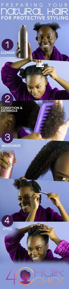 4c Hair Chicks | 4 steps to preparing 4c hair for protective styling.