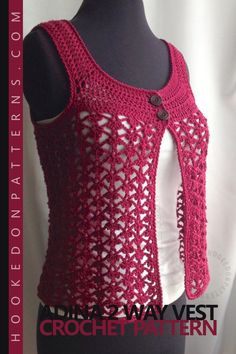 Adina 2 Way Vest Crochet Pattern. A beautiful lace vest top crochet pattern which can be worn 2 ways for different styles. A great addition to your summer wardrobe! The pattern includes sizes from Small up to XLarge. #crochet #clothing #fashion #summertop