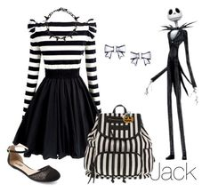 """""""Disney Inspired Outfits: Jack Skellington"""" by morganautical ❤ liked on Polyvore featuring Betsey Johnson, Dabuwawa, Charlotte Russe, Meggie and International"""