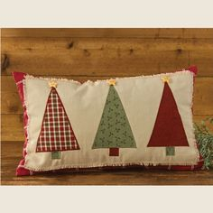 "Dress up your room or the holidays with our Appliqued Christmas Tree Pillow. Burlap layer with appliqued trees are accented with a button star. 12"" x 20"" pillow. #christmas #pillow #decor"