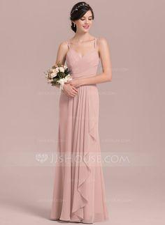 [CA$ 149.74] Forme Princesse Amoureux Longueur ras du sol Mousseline de soie Robe de demoiselle d'honneur avec Robe à volants