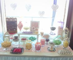 Shabby Chic candy buffet | lolly buffet  Wedding at Merewether Surfhouse. By Candy Land Buffets www.candylandbuffets.com