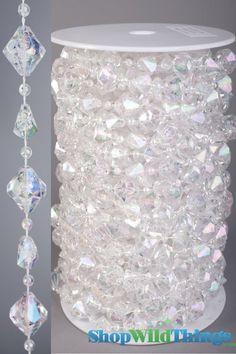 Rolls of Beads 20 Yards ft) - Gemstones Crystal Iridescent Crystal Garland, Crystal Beads, Chandelier Crystals, Beaded Garland, Bling Wedding, Diy Wedding, Wedding Flowers, Wedding Centerpieces, Wedding Decorations