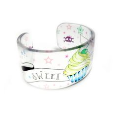 Cupcake Cuff, Graphic Clear Resin Cuff Bangle Bracelet, tattoo style, embedded photo, by Buy My Crap. $40.00, via Etsy.