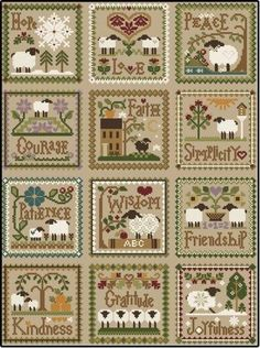 "Cross Stitch Charts Diane Williams of Little House Needleworks has created ""Twelve Sheep Virtues"". Each month in 2013 she released a sheep virtue pattern; this is the 12 patterns stitched together. Sheep Cross Stitch, Cross Stitch Love, Cross Stitch Needles, Cross Stitch Samplers, Cross Stitch Animals, Cross Stitch Charts, Cross Stitch Designs, Cross Stitching, Cross Stitch Embroidery"