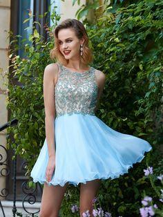 33d827f5291 A-Line Princess Scoop Sleeveless Chiffon Beading Short Mini Dresses - Homecoming  Dresses