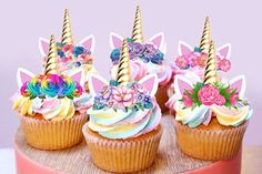 $9.85 AUD - 12 Stand Up Unicorn Gold Horn Ears Fairy Edible Cupcake Cake Images Toppers 4 #ebay #Home & Garden