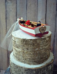 Canoe-paddle boat-oars-bride groom fishing boat lake loge themed-fall-row boat-groom's cake-boat topper-wedding-cake topper-country-rustic by MorganTheCreator on Etsy https://www.etsy.com/listing/124241896/canoe-paddle-boat-oars-bride-groom