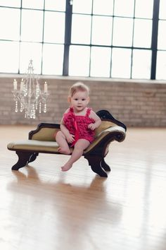 chandelier, mini weeping sofa and toddler. Baby Shots, Mini Chair, Toddler Furniture, Cool Photos, Brown Leather, Chandelier, Sofa, Photoshoot Ideas, Trending Outfits