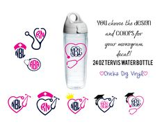 24 oz Tervis Water Bottle with Custom Stethoscope Monogram Decal - Vinyl Decal - Custom colors and design! Nurse/Dr/Veterinarian/Vet Tech by ChicksDigVinyl on Etsy https://www.etsy.com/listing/210477119/24-oz-tervis-water-bottle-with-custom