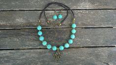Collier perles turquoise bronze et cuir : Collier par des-filles-et-des-perles