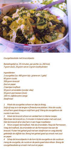 Courgettesalade met broccolipesto. Italiaans bijgerecht - Foodies mei 2014 Marsala, Green Beans, Cantaloupe, Foodies, Meat, Fruit, Vegetables, Desserts, Salad
