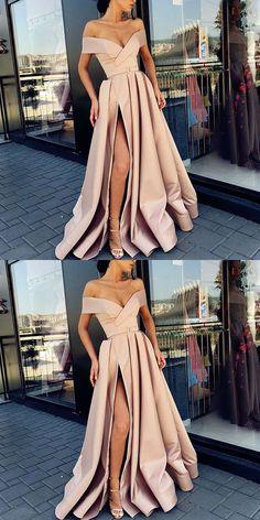 A-Line Off the Shoulder Sweep Train Split Front Champagne Prom Dress with Belt A-Linie von der Schulter Sweep Zug Split Front Champagner Prom Kleid mit Gürtel # # Abendkleid # Kleid # Kleider # Kleider # Partykleid😄 Blush Prom Dress, A Line Prom Dresses, Cheap Prom Dresses, Dresses For Teens, Evening Dresses, Long Dresses, Womens Formal Dresses, Party Dresses, Dress Prom