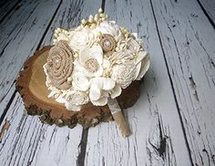 "Medium Ivory Brown Rustic Wedding Bouquet Sola and Burlap Flowers Lace and Pearls. Medium rustic wedding BOUQUET made of sola flowers in various shapes, handmade burlap flowers, dried sorghum and flax, burlap, lace and pearl pins. Great as a bridal or bridesmaid's bouquet. Dimensions: length 27cm(10 5/8""), diameter approx. 19cm(7 31⁄64"") Of course write to me if you have any questions or want to have some custom order - I'll be happy to make something special for you. I can completely..."
