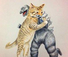 在這夜晚 片刻休息時 看看喵咪對戰哥吉拉 誰會贏呢? #art #illustration #color #painting #cat #godzilla