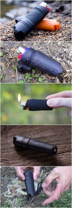 Exotac EDC fireSLEEVE waterproof lighter, Black, No Lighter Black