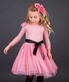 Dusty Rose Floral Lace Dress - Toddler & Girls