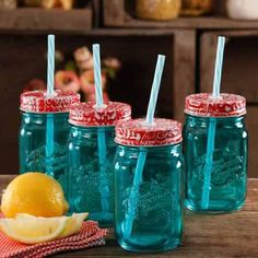 The Pioneer Woman Simple Homemade Goodness Mason Jars with Lid and Straw Set of 4 Teal ** Continue to the product at the image link. Pioneer Woman Dishes, Pioneer Woman Kitchen, Pioneer Woman Recipes, Pioneer Women, Aqua Kitchen, Kitchen Dishes, Kitchen Items, Kitchen Stuff, Kitchen Gadgets