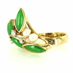 Vintage 14 Karat Yellow Gold Jade Diamond Cultured Pearl Cocktail Ring Estate $1399