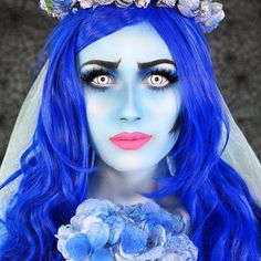 The corpse bride makeup tutorial coming to my channel Wednesday! DOUBLE TAP this pic if you LOVE The corpse bride & Tim Burton Tag these pages in the comments so I can get noticed/reposted this Halloween! @halloweenmakeupideas @wakeupandmakeup @pop_beauty @vegas_nay Makeup details✨ @mehronmakeup Paradise paint in light blue & black for the face,body & brows @flutterlashesinc in crazed @tartecosmetics double take Liner & lash paint @nyxcosmetics jumbo pencil in milk @morphebrushes...