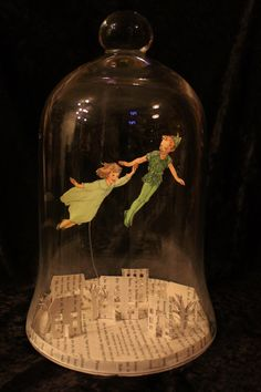 Peter Pan Bell Jar Book Sculpture by wetcanvas on DeviantArt Glass Bell Jar, The Bell Jar, Glass Domes, Glass Jars, Bell Jars, Peter Pan Book, Book Sculpture, Paper Sculptures, Jar Art