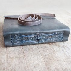 Indigo Leather Journal Handbound Journal For Her For by Odelae Leather Books, Leather Notebook, Leather Journal, Leather Dye, Leather Cover, Leather Tooling, Handmade Notebook, Handmade Books, Leather Bags Handmade
