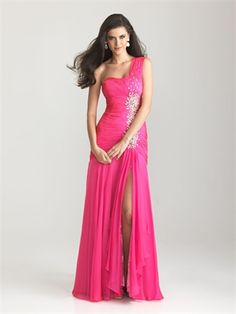 One Shoulder Beaded Ruched Bodice Satin Prom Dress PD11290 www.dresseshouse.co.uk $126.0000