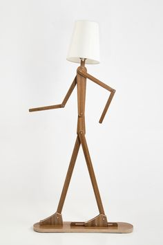 DIY Fancy Human Shape Standard Lamp With Flexible Arm Rustic Wooden Home Lighting Four